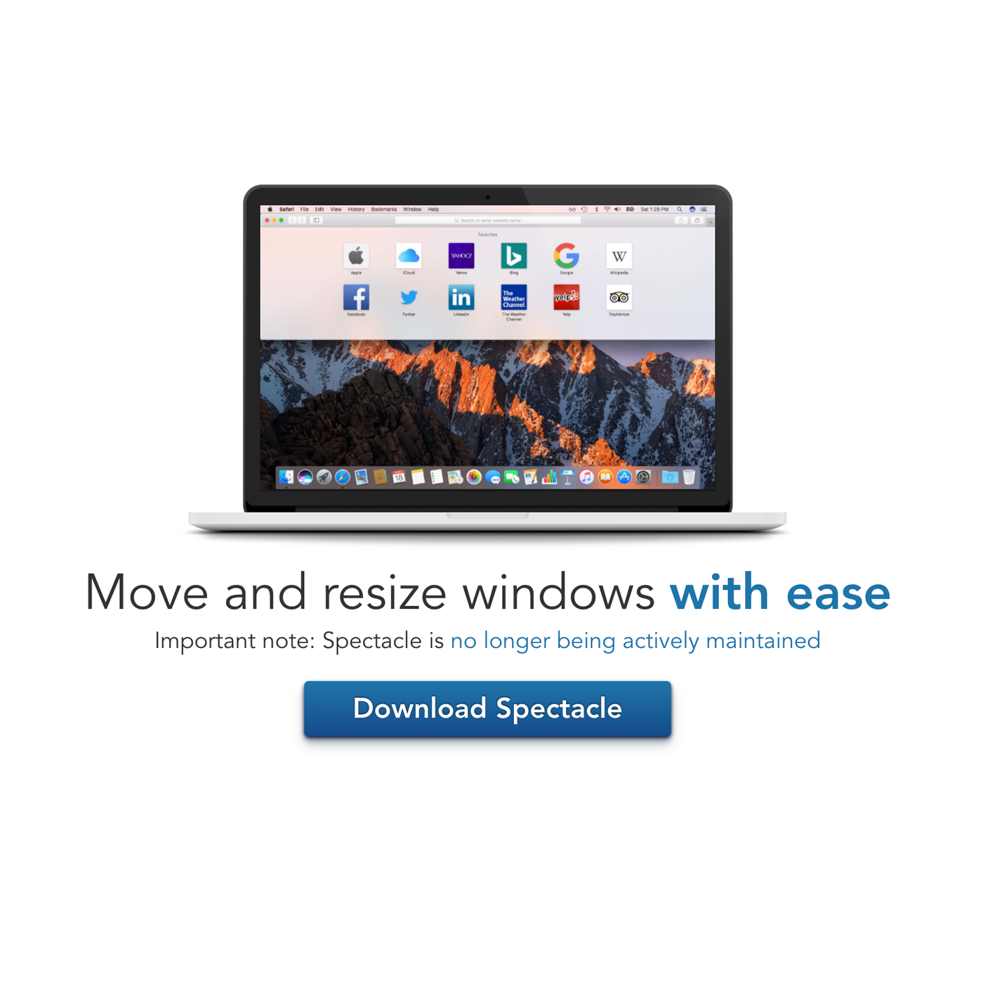 An image of a laptop screen with the words 'move and resize windows with ease' underneath, followed by a 'Download Spectacle' button.