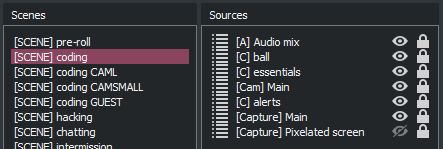 A screenshot showing the components that make up my coding composite scene in OBS