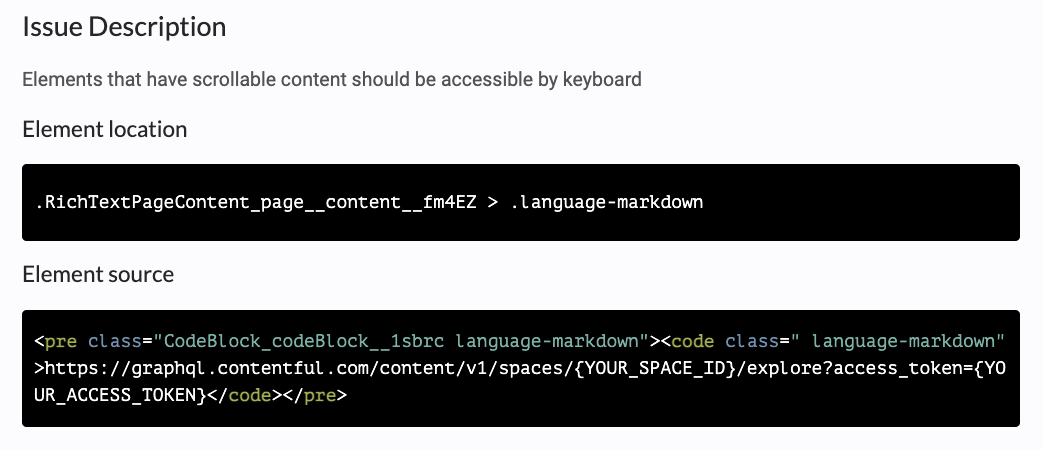 A screenshot showing an axe accessibility tool issue description of scrollable content failure