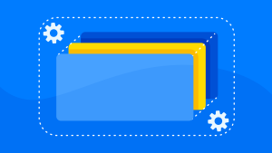 An illustration of blue and yellow rectangles on a blue background, representing application layers, with some wheel cogs in the top left and bottom right corners.