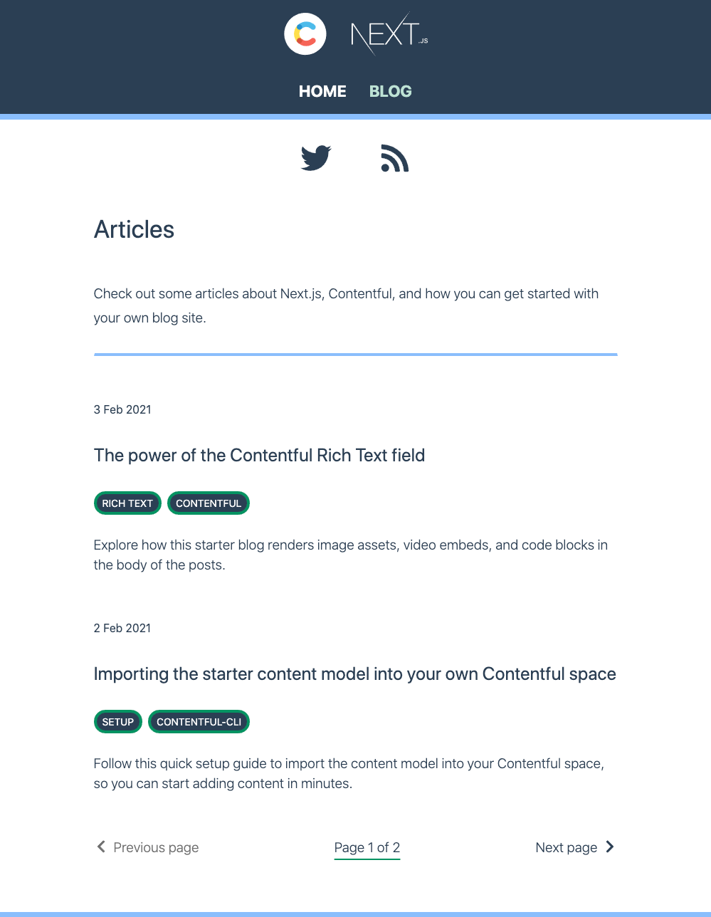 Screenshot of the blog index from the Next.js and Contentful starter example website