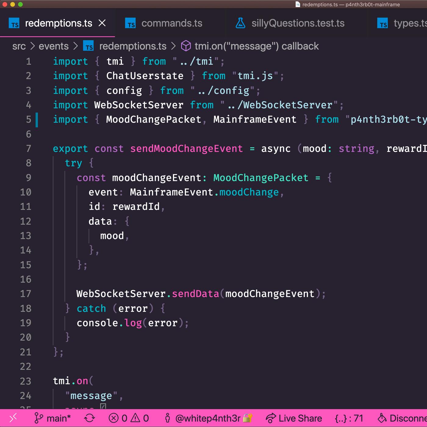 A screenshot of some code in Visual studio Code