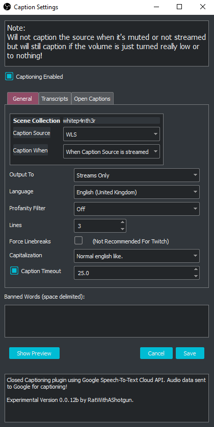 A screenshot showing the captions settings I use in OBS