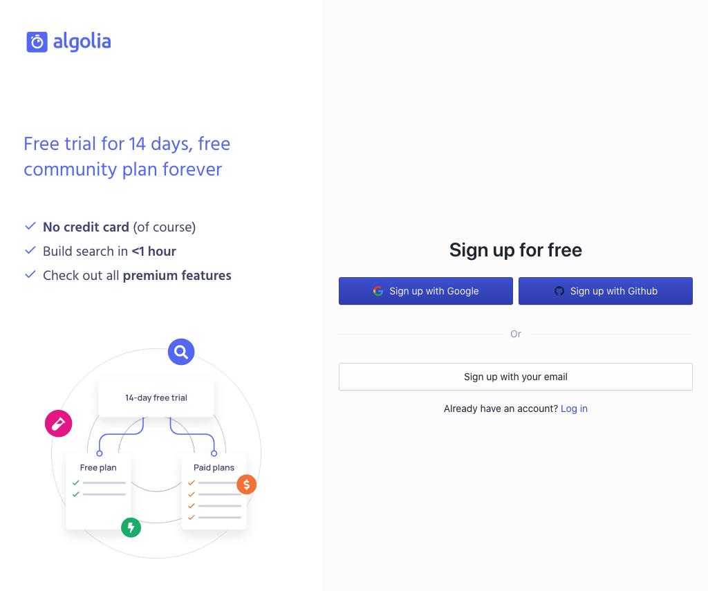 A screenshot of the Algolia website sign up screen.