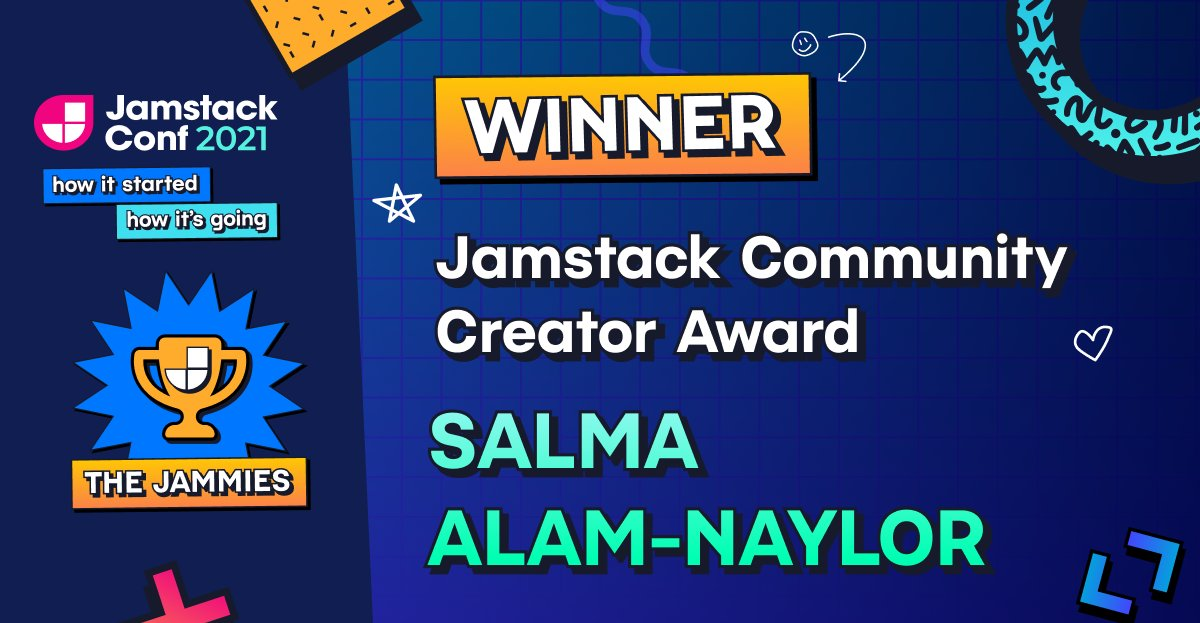An illustration of the Jamstack Community Creator award, showing my name, a trophy and a 90s style patterned background.