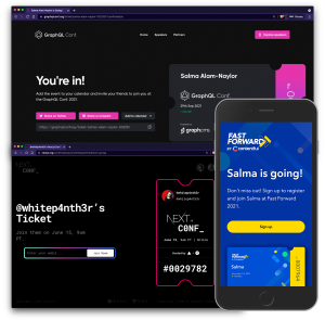 A collage of GraphQL conf, Nextjs Conf and Fast Forward Conf social sharing event tickets in a range of desktop and mobile views.