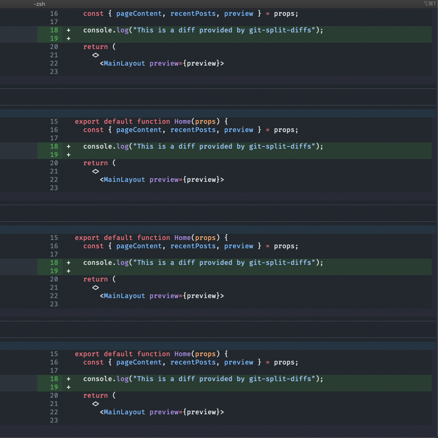 A screenshot of a terminal showing the command 'git diff' being run, using the tool git-split-diff