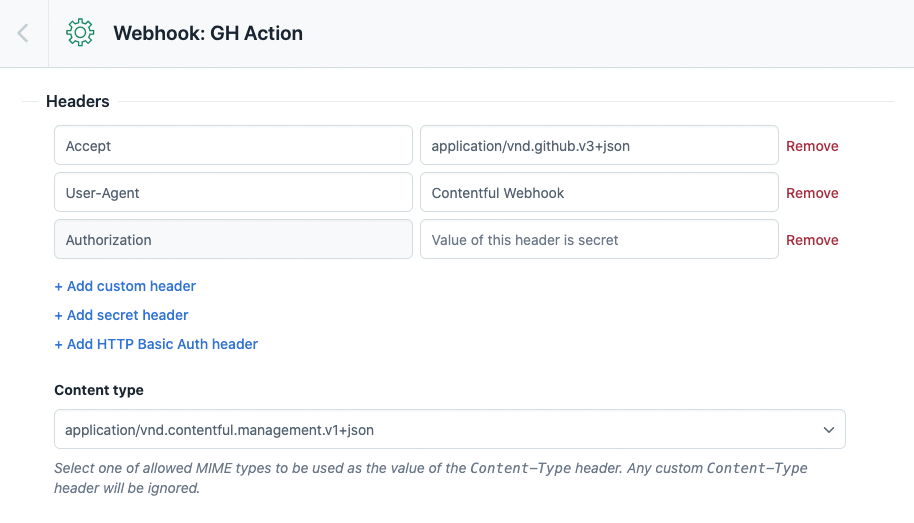 A screenshot showing the custom and secret headers for the webhook settings.