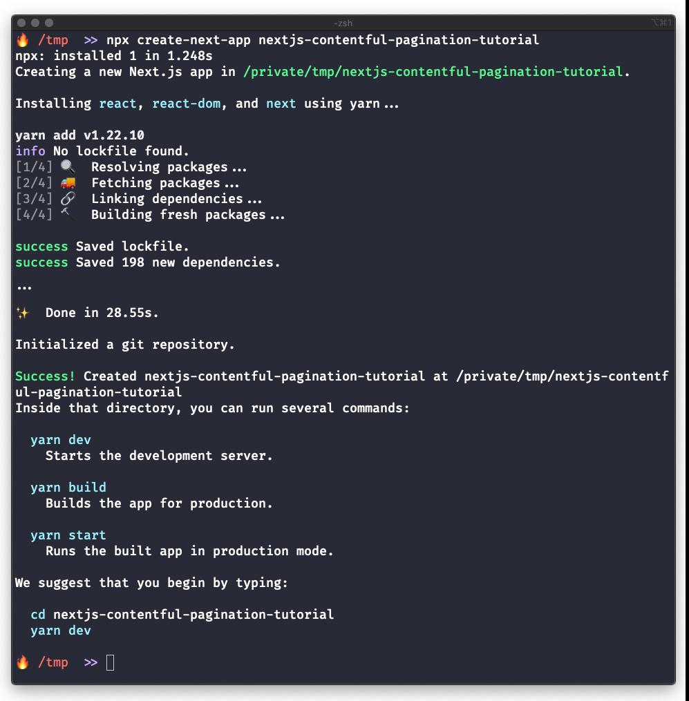 Screenshot of terminal output after running npx create-next-app