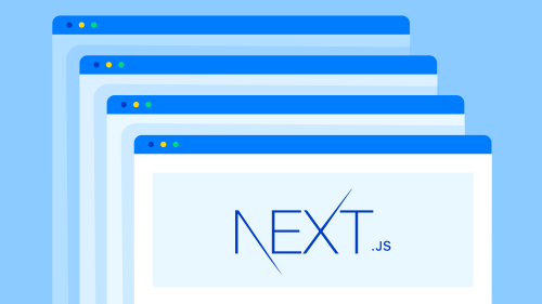An illustration of multiple browser windows with the Next.js logo