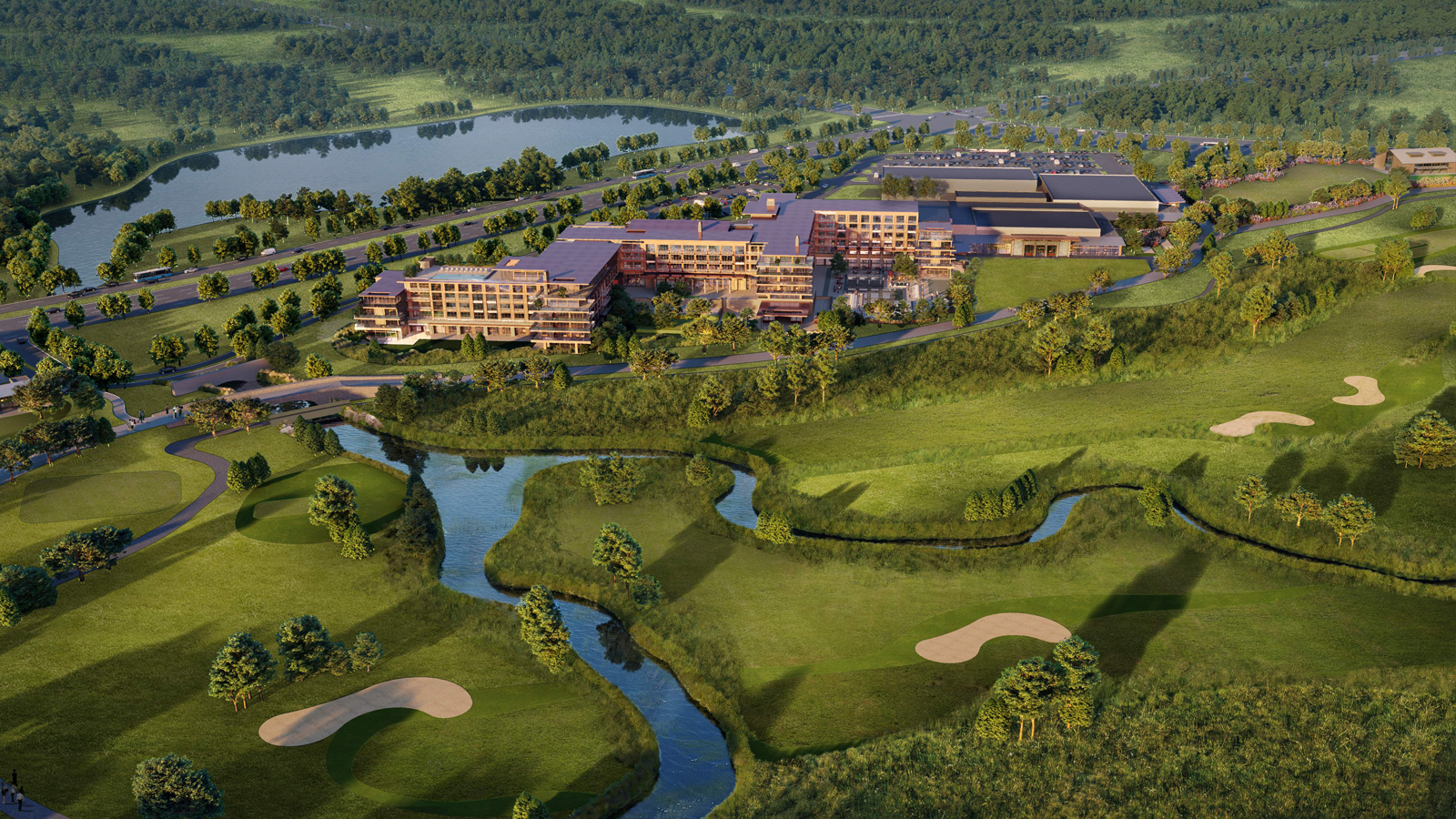 A rendering of the resort seen from above.