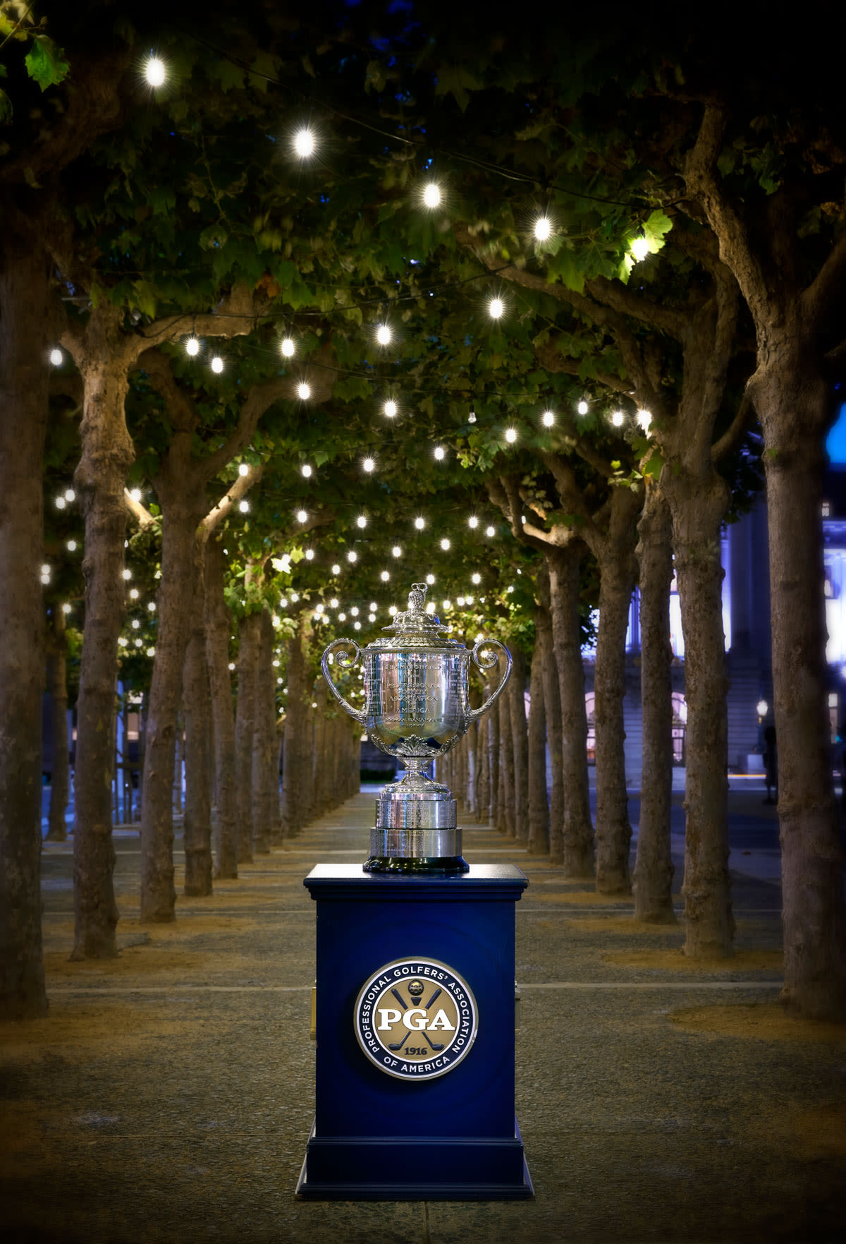 The Wanamaker Trophy sits among the lighted paths near San Francisco City Hall.