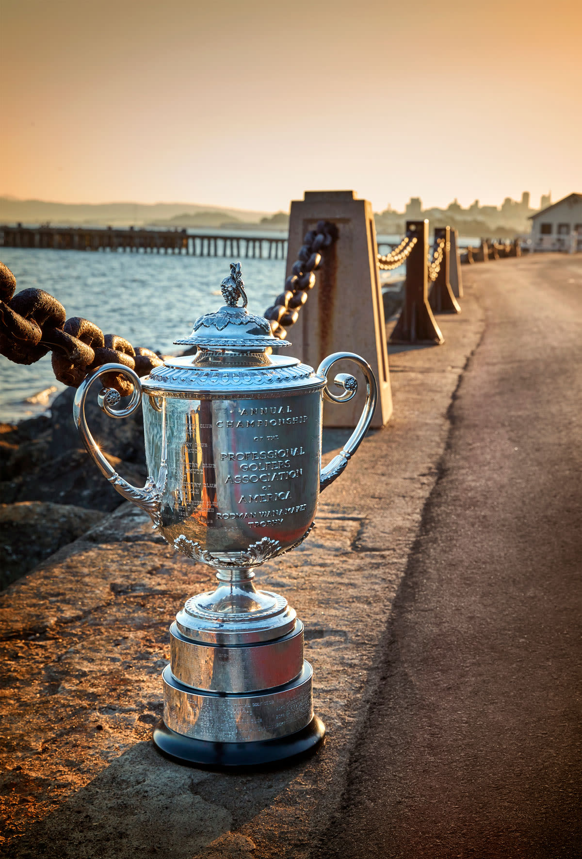 The Wanamaker Trophy along the water in San Francisco.
