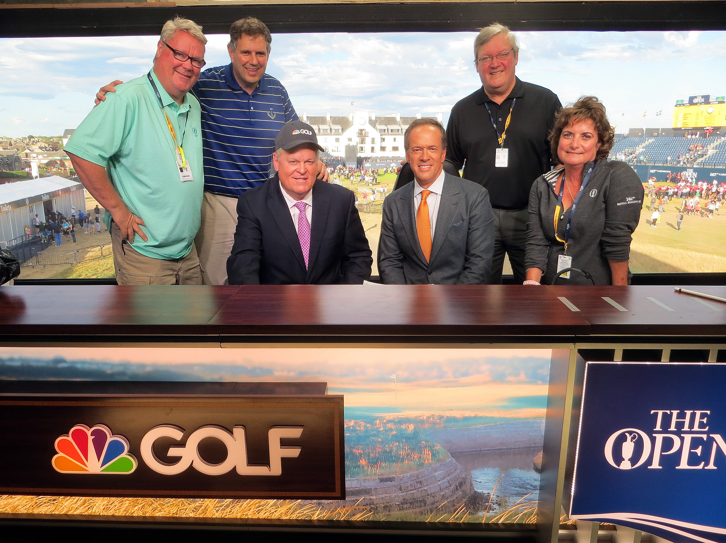 From the 2018 Open Championship. Standing left to right: Greg Acker, Gil Capps, Bill Fields, Kathy Noce. Seated: Johnny Miller, Dan Hicks.