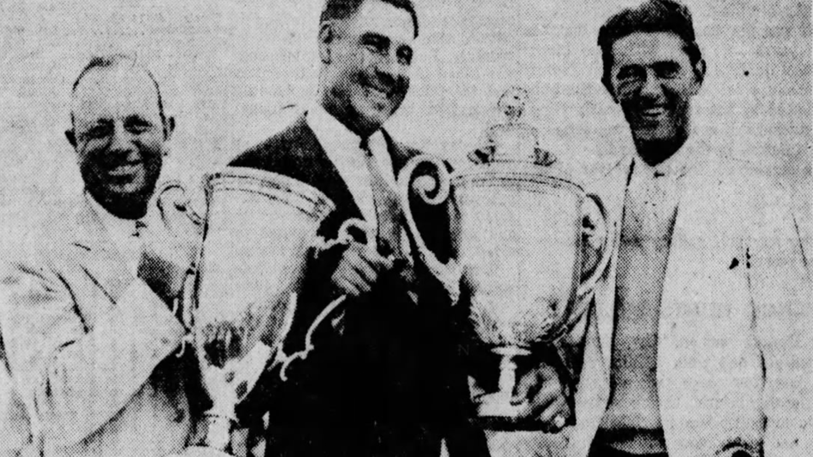 Left to right: PGA President Charley Hall, 1932 PGA Medalist and Champion Olin Dutra and runner-up Frank Walsh. Dutra was the first to hold the Wanamaker and Alex Smith trophies in the same ceremony.