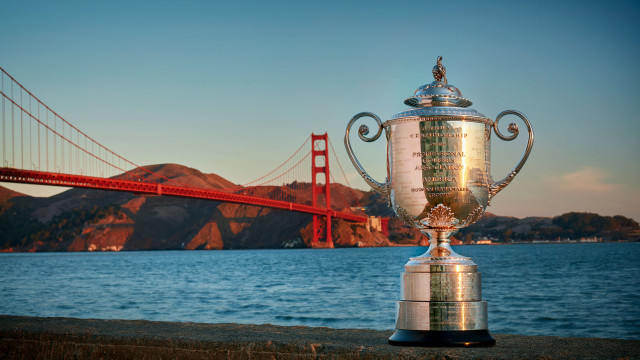 The Wanamaker Trophy in front of the famous Golden Gate Bridge.