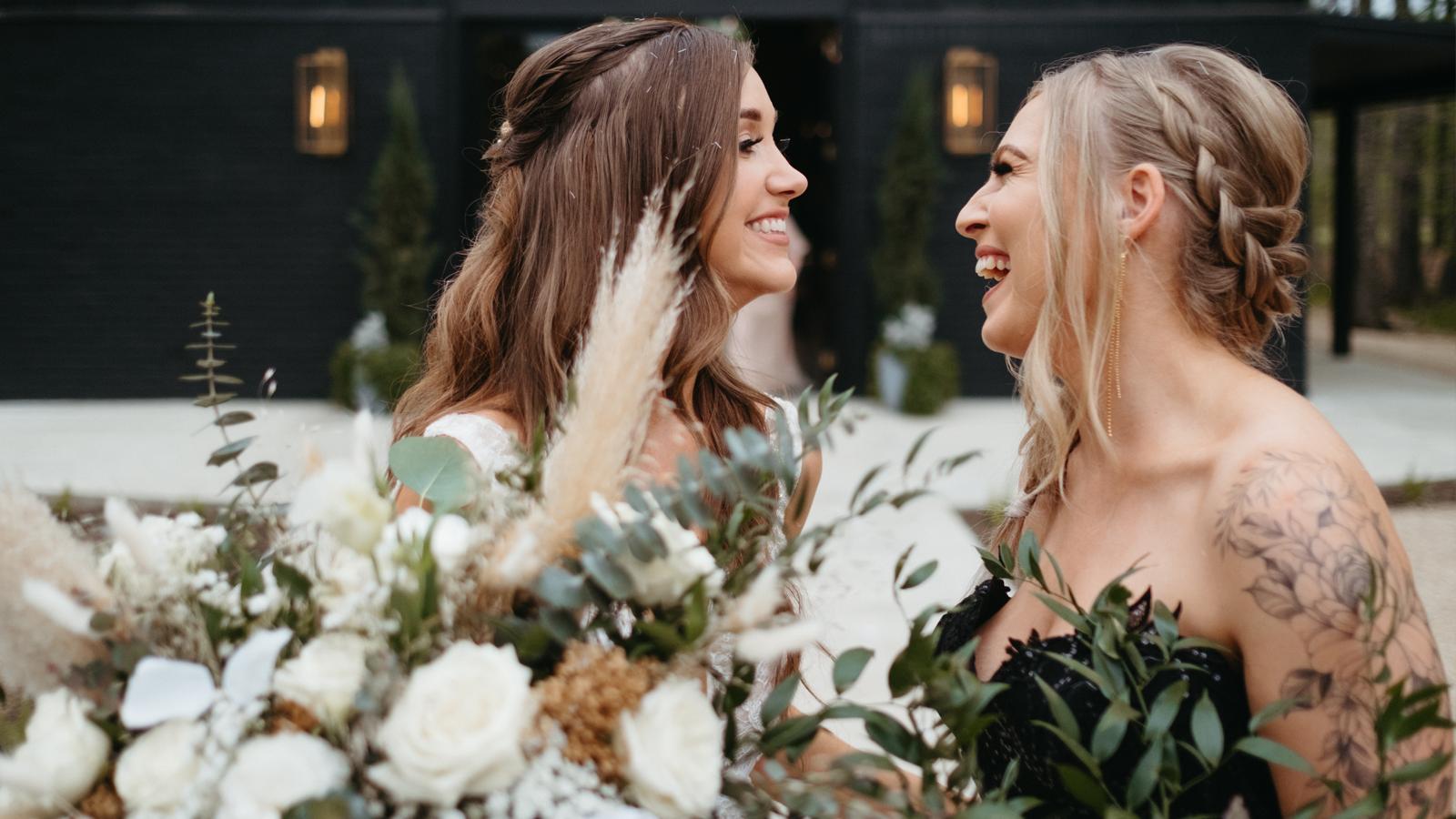 Sarah and Bobbi on their wedding day.