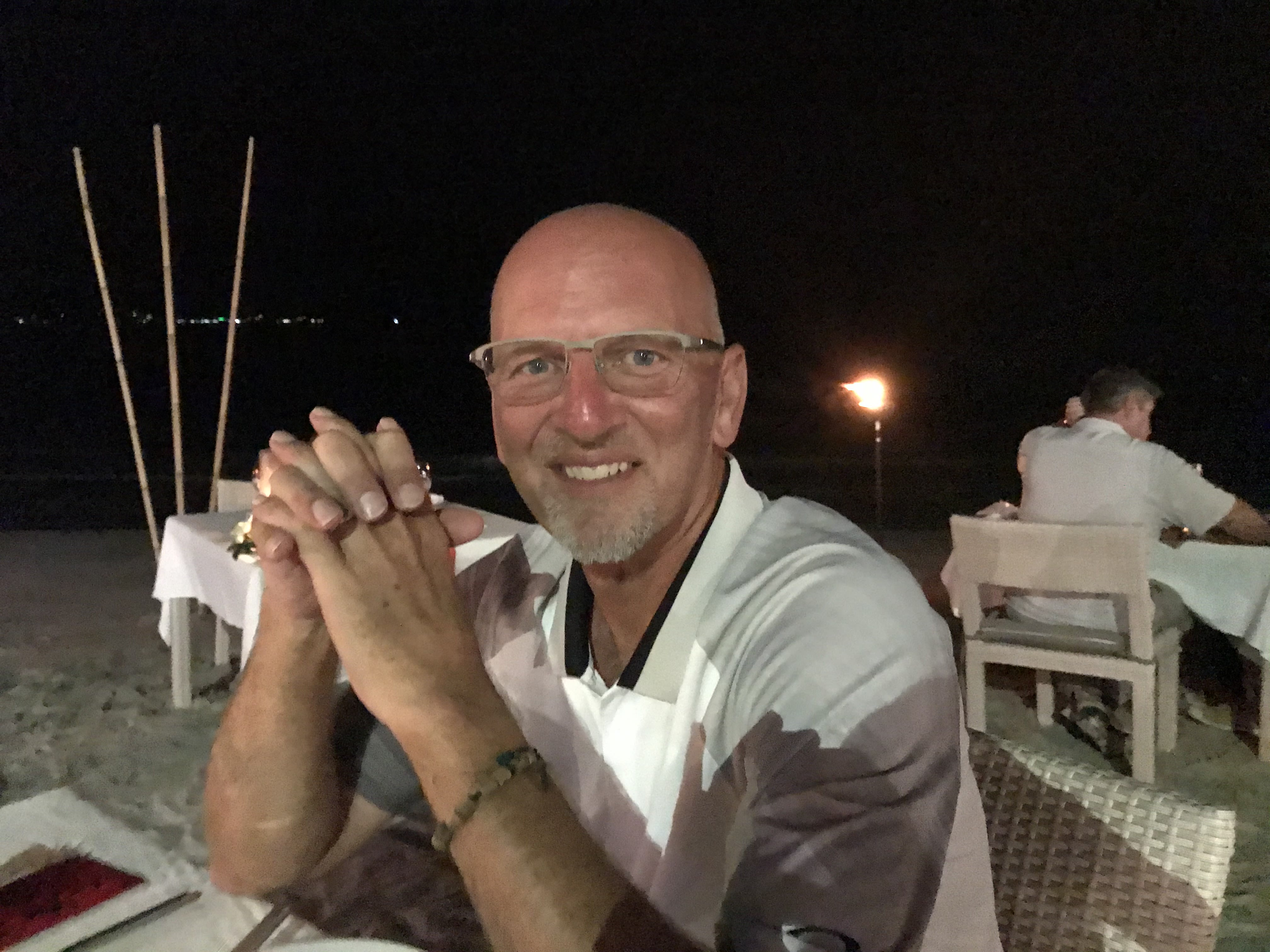 Doug Rohrbaugh at dinner on the beach, Jan. 25, in Koh Samui, Thailand