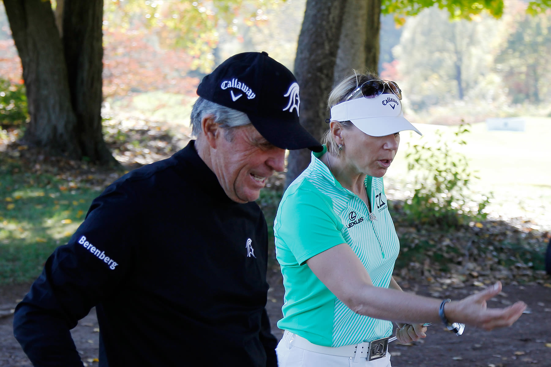 Gary Player and Annika Sorenstam during the Berenberg Gary Player Invitational Pro-Am held at GlenArbor Golf Club on October 12, 2015 in Bedford Hills, New York. (Photo by Michael Cohen/Getty Images)