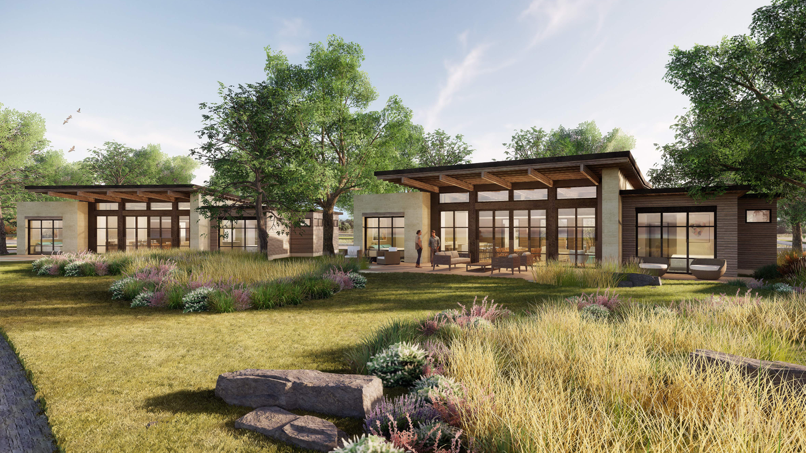 A rendering of the golf villas on property.