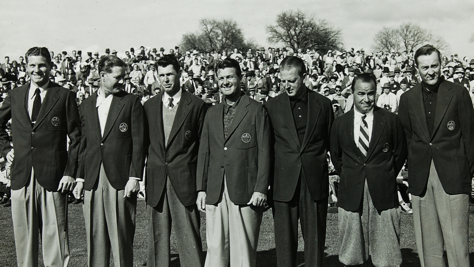 Horton Smith, Byron Nelson, Henry Picard, Jimmy Demaret, Craig Wood, Gene Sarazen, Herman Keiser at the 1947 Masters.
