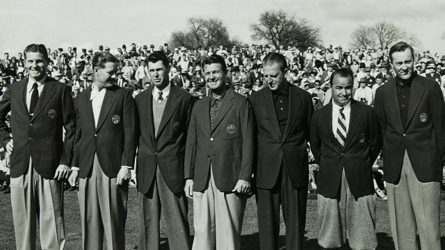 Horton Smith, Byron Nelson, Henry Picard, Jimmy Demaret, Craig Wood, Gene Sarazen, Herman Keiser at the 1947 Masters.