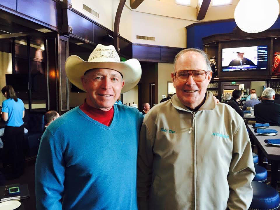 Dick Gray and Pete Dye at PGA Golf Club's Taplow Pub. (Courtesy of Adriana Vizcaya/PGA Golf Club)