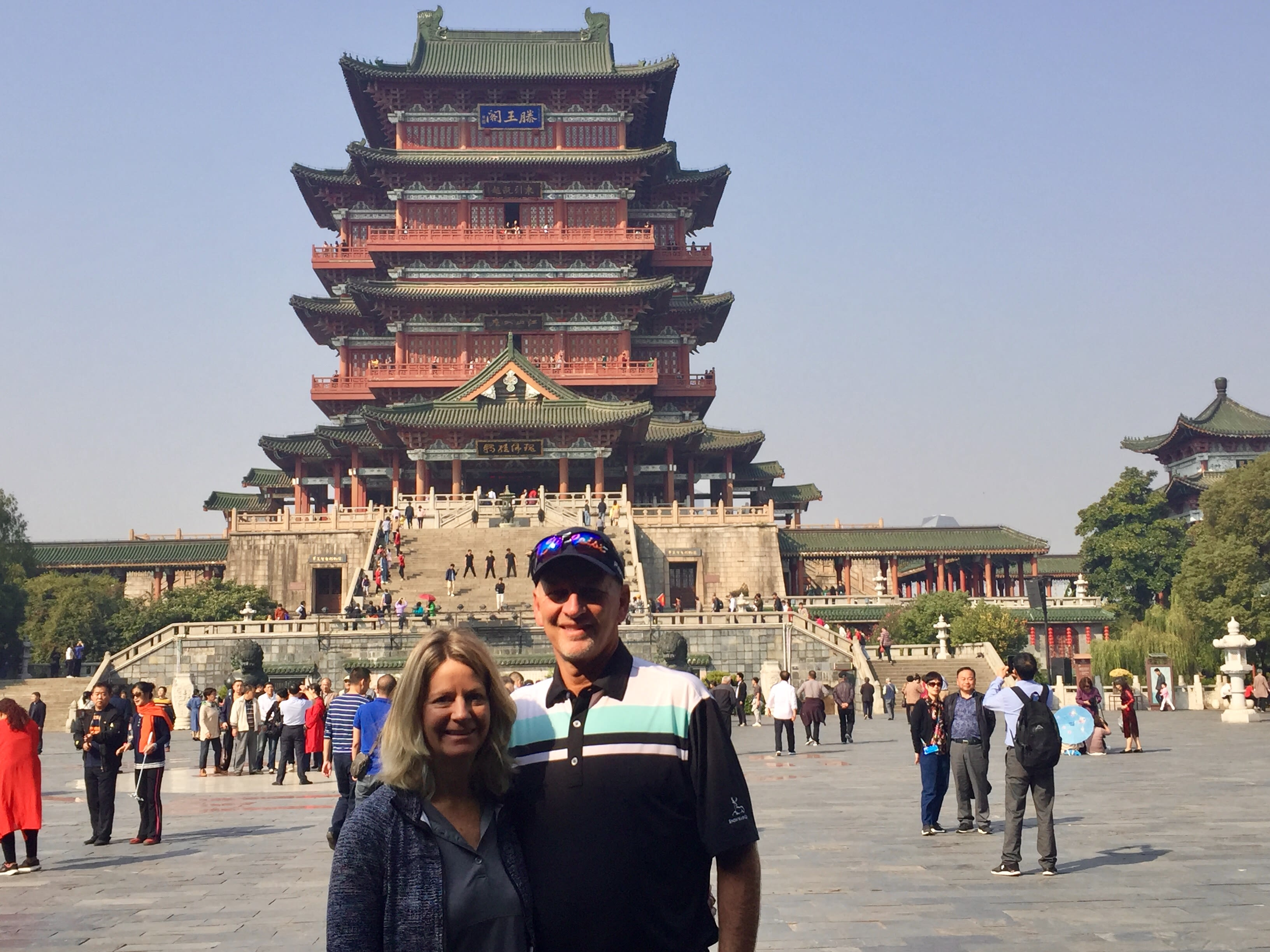 Doug and Karla Rohrbaugh pose for a photo at the Tengwang Pavilion in Nanchang, China on November 16, 2019.