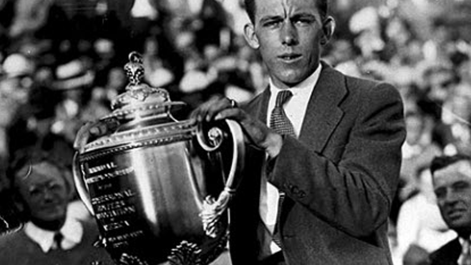 1931 PGA Champion Tom Creavy holding the Rodman Wanamaker trophy in a winner's ceremony for the first time since 1925.