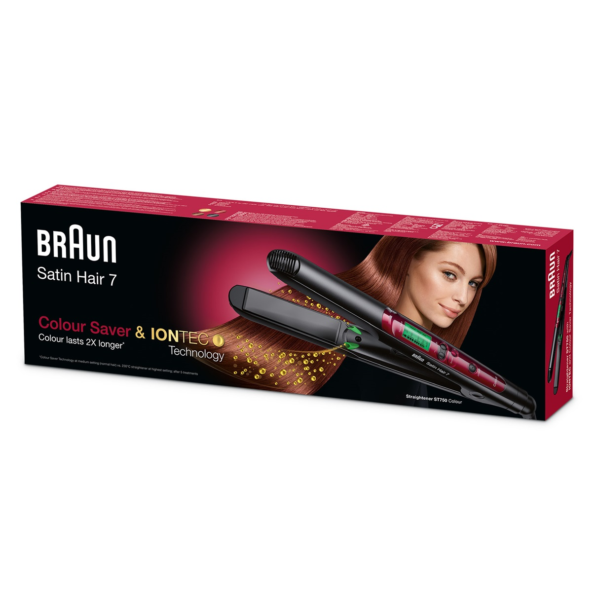 Braun Satin Hair 7 Colour straightener ST750 with Colour Saver technology - packaging