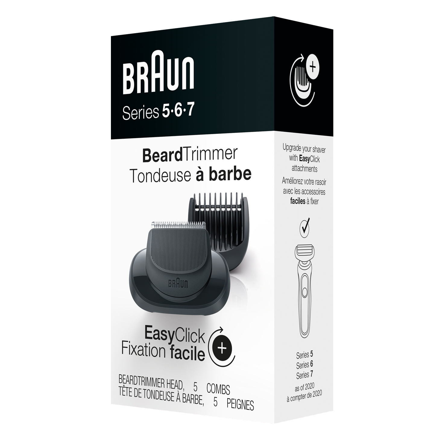 EasyClick Beard Trimmer attachment for Braun Series 5, 6 and 7 electric shaver