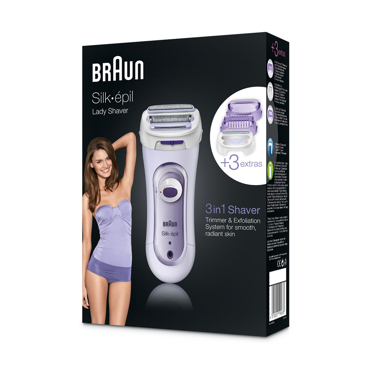 Braun Lady Shaver - 5560 Cordless Electric Shaver including Exfoliation Attachment - packaging