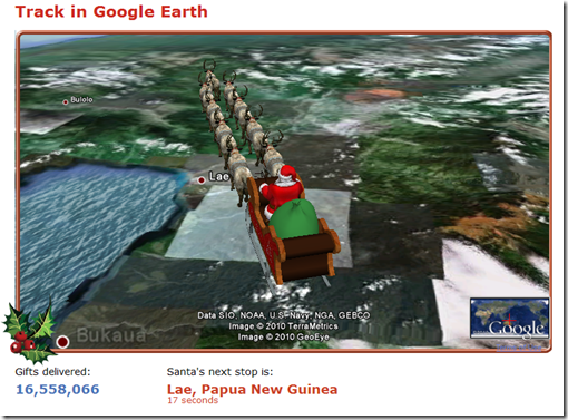 Tracking Santa in Google Earth