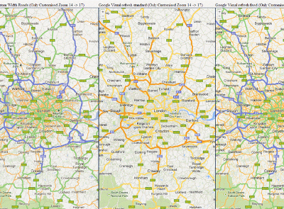 Google Maps visual refresh and UK road styling