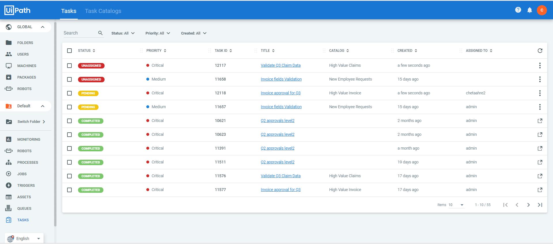 Tasks inbox uipath apps