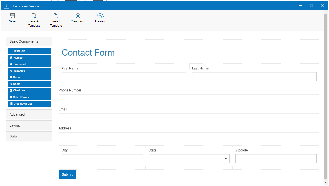 Contact form uipath
