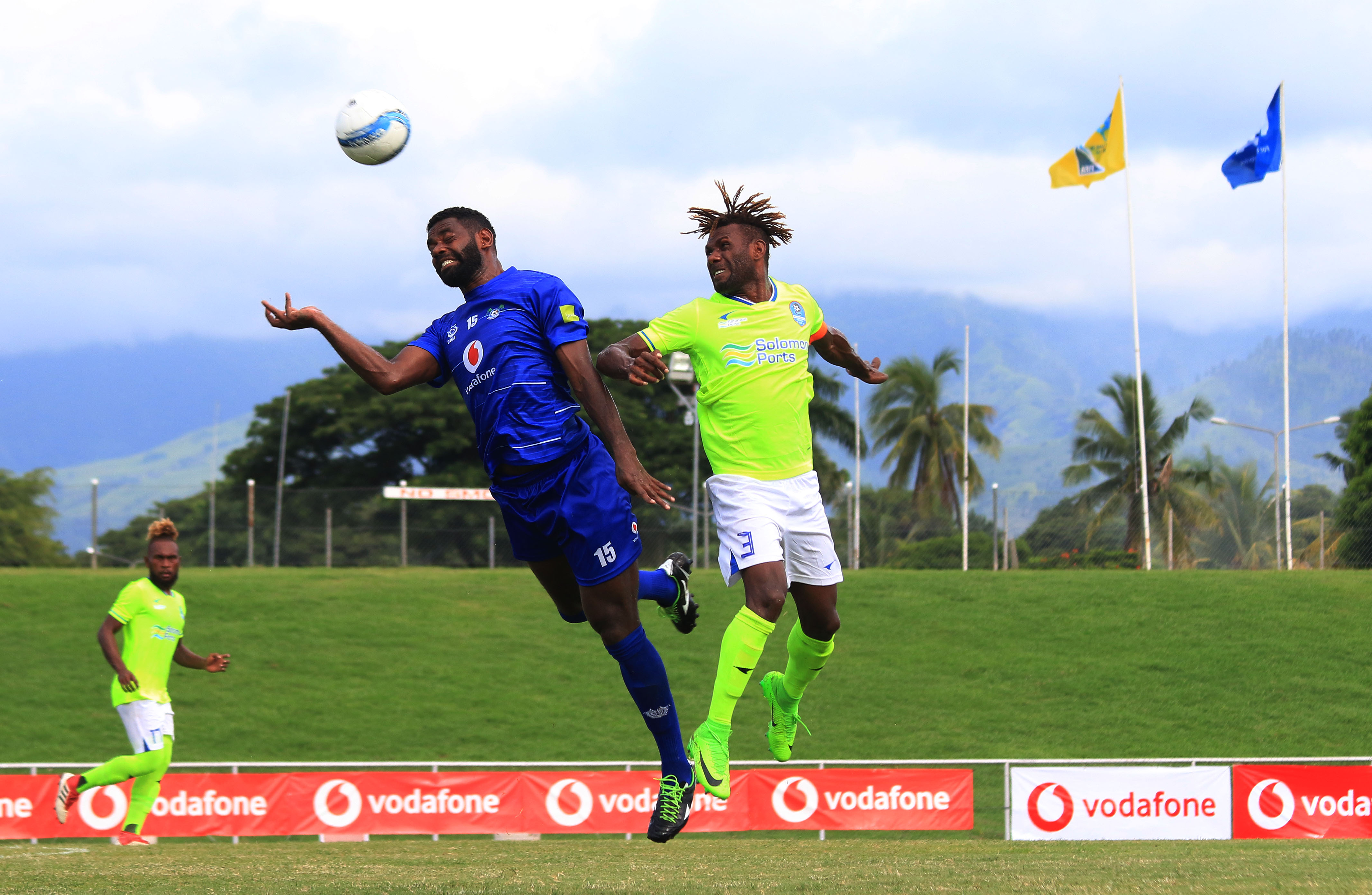 Aerial battle during the game between Henderson Eels (Solomon Island) and Lautoka FC (Fiji) in OFC Champions League