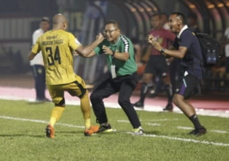 Anderson Salles, Brazilian defender, celebrates scoring a goal with Bhayangkara FC (Indonesia)