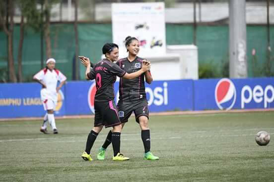 Yiwang Pindarica celebrating a goal with her club Thimphu FC