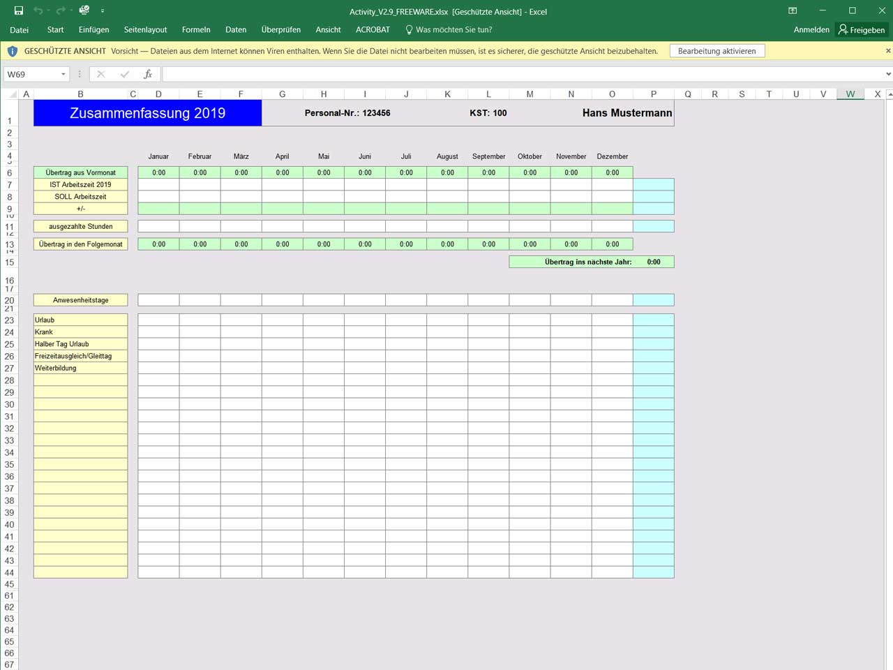Excel Vorlagen Zeiterfassung Kostenlos