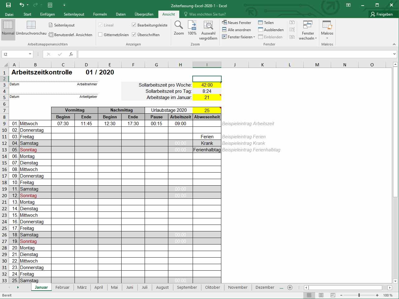 Zeiterfassung Excel Vorlage 2020 Zeiterfassung Kostenlos