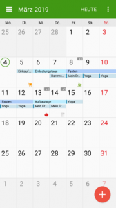 Plan zum Fasten in Kalender, Screenshot von Google Calendar