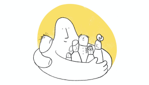 Blob holding family in warm embrace