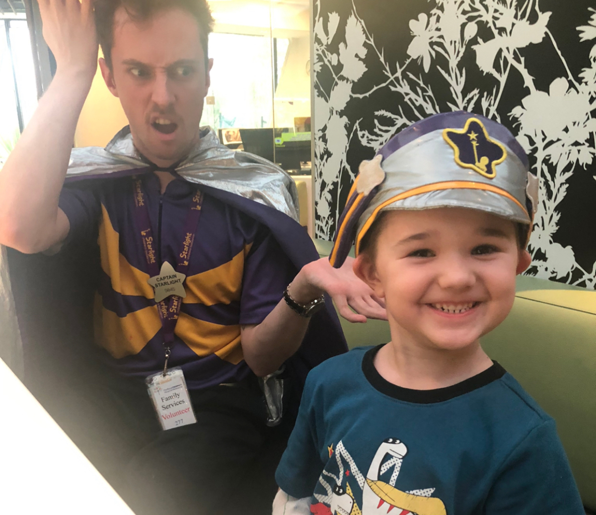 Chayse with Captain Starlight in the Starlight Express Room