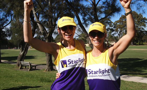 Starlight runners cheering and laughing