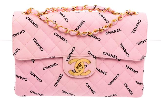 Chanel Pink Canvas Logo Jumbo XL Maxi Single Flap.jpg