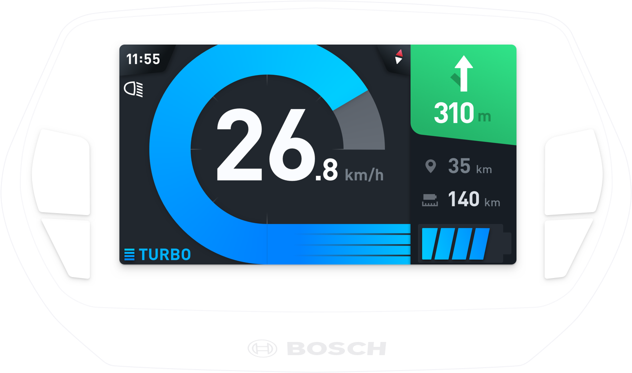 Nyon ride screen showing information like tachometer, battery state, support mode & navigation