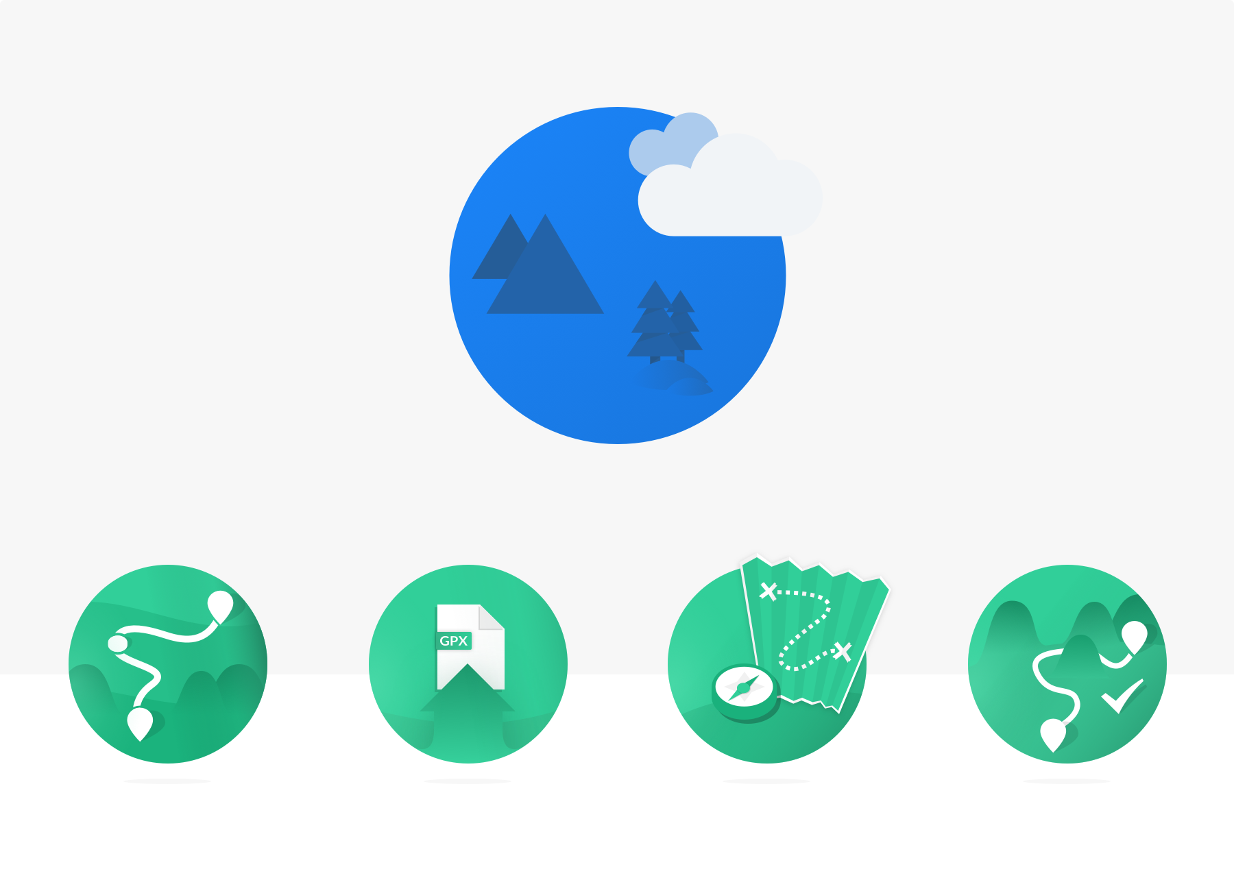 Icons for actions on the route dashboard