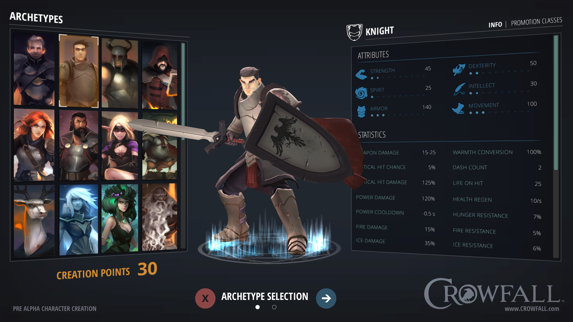 Crowfall Character Creation preview