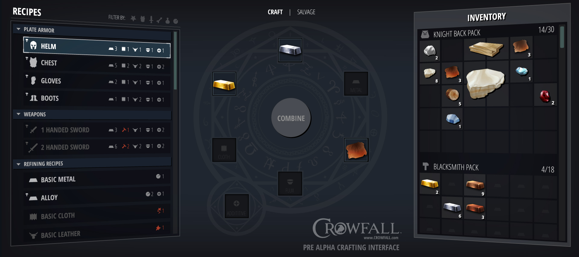 Pre Alpha Crafting Interface